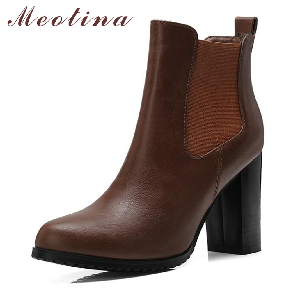 Meotina Winter High Heel Boots Slip On Elastic Ankle Boots Women Chelsea Boots Shoes 2018 Autumn Ladies Short Shoes Black Brown meotina women boots winter chunky heel western boots ladies ankle boots large size 34 43 female autumn shoes 2018 white brown