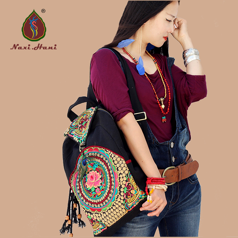 Naxi.Hani Brand Original Ethnic embroidery canvas cover women backpack fashion vintage handmade feather Travel backpack xiyuan brand luxury and fashion women backpacks vintage handmade embroidered bags ladies embroidery canvas travel bags backpack