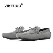 VIKEDUO Summer New Mens Loafers Shoes Solid Gray Male Suede Shoe Brand Handmade Casual Zapatos Hombre Office Wedding Sapatos