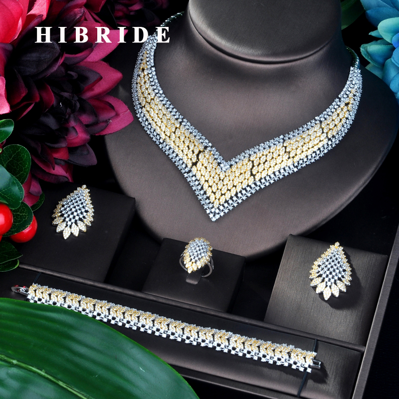 HIBRIDE Trendy Luxury Double Tone Dubai Jewelry Set CZ Earrings Necklace Women Bridal Jewelry Set For Party Gits N-894HIBRIDE Trendy Luxury Double Tone Dubai Jewelry Set CZ Earrings Necklace Women Bridal Jewelry Set For Party Gits N-894