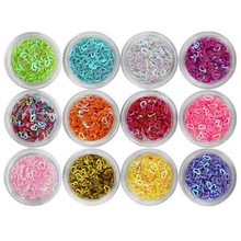 12 Boxes/set Iridescent Sequins Hollow Heart Pattern Colorful Nail Glitters Set 3D Acrylic Tip Glitter PLB-07