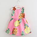 New Fashion Baby Girls Dress Pink Fruit Pattern Infant Princess Dress 2017 Summer Sleeveless Dresses for Girls Children Clothes