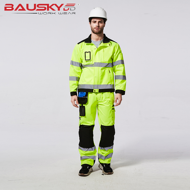 Bauskydd High Visibility Reflective Workwear Suit Sets Work Suit Fluorescent Yellow Work Jacket And Work Pants With Knee Pads