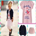 3Pcs one Set Girls Fashion Clothing Coat+Tshirt+Skirt Roupa Infantil Menina Vetement Enfant Fille Roupas De Menina For 1-5Y