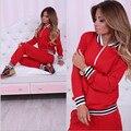 Rayado rojo Marca Mujeres Chándal Set 2016 Cremallera Diseño Delgado Del O-cuello Sólido Campana Otoño Conjunto Casual Femenino Chándales DYF222