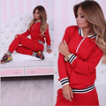 Red Striped Brand Women Tracksuit Set 2016 Zipper Solid Design Slim O-Neck Bell Fall Casual Female Set Tracksuits DYF222