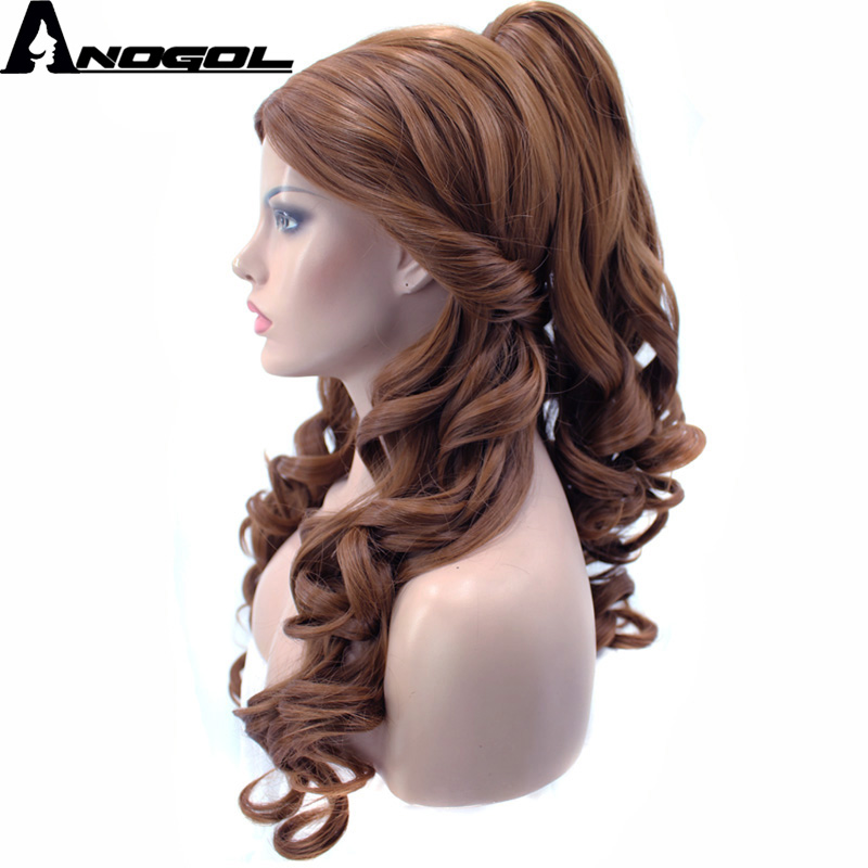 Image 2 - Anogol Belle Beauty And The Beast Natural Long Body Wave Clip Ponytail Brown Princess Synthetic Cosplay Wig For Halloween Party-in Synthetic None-Lace  Wigs from Hair Extensions & Wigs