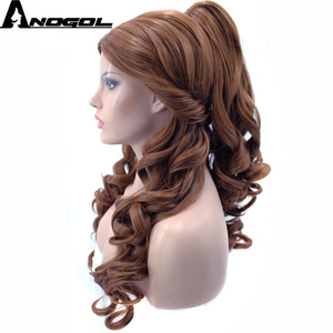 Image 3 - Anogol Belle Beauty And The Beast Natural Long Body Wave Clip Ponytail Brown Princess Synthetic Cosplay Wig For Halloween Party