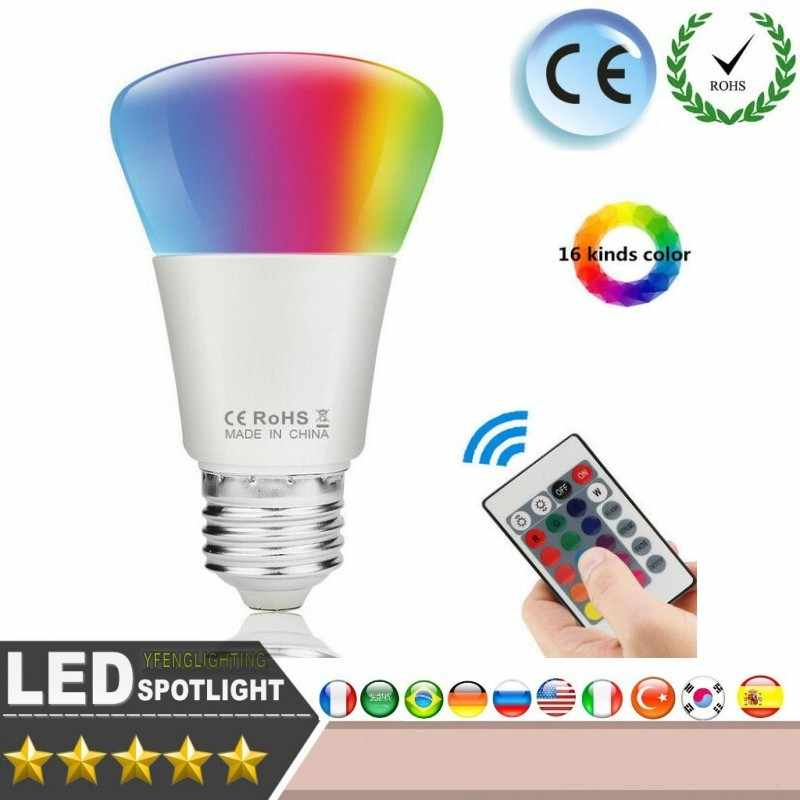 New Design 10W 20W E27 RGB Lamp 16 Colors Intelligent LED Light Bulb Lamps Spotlight+IR Remote Control Candle Lamp Ball Lamps