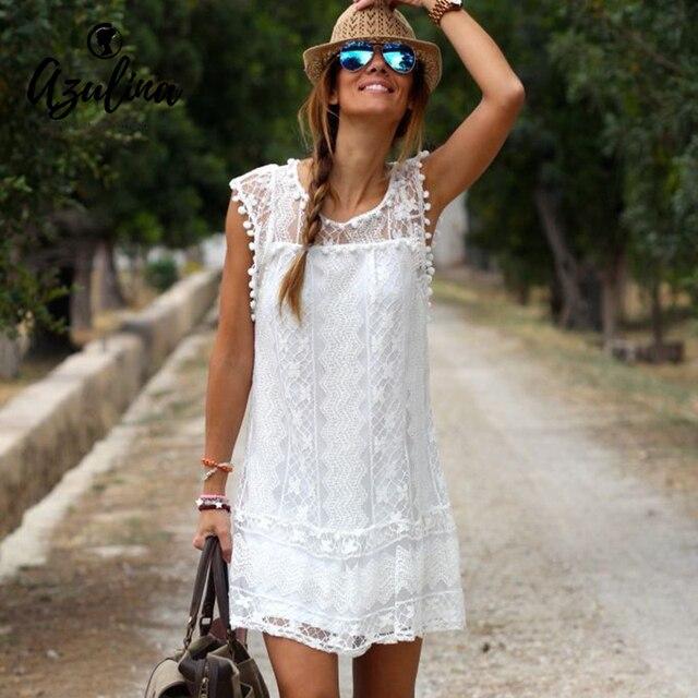 AZULINA Summer Dress 2017 Женщины Повседневная Пляж Короткие Кисточкой Белый мини Кружева Dress Sexy Party Платья Женский Мягкий Платье плюс размер
