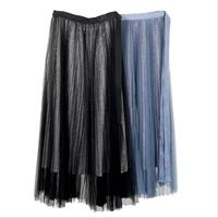 Hot Selling Popular Stylish Trend Women's Solid Color Elastic Waist Solid Black Blue Mesh Pleated Long Skirt Saia