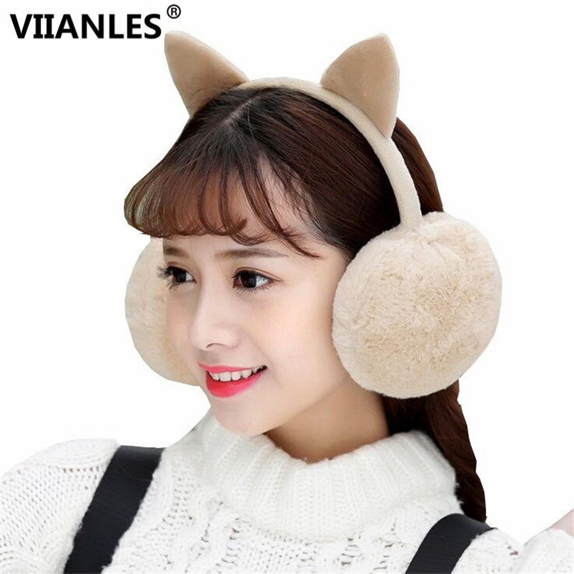 VIIANLES Faux Fur Ear Muffs Cute Winter Warm EarmuffsCat Ear Earflap Earmuff For Girls Ear Flap Ladies Plush Ear Muffs Women