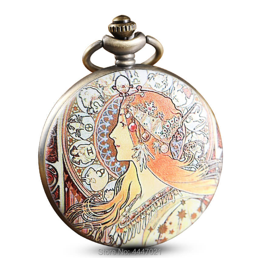 Modern Painted Beauty Portrait Pocket Watches Chains Vintage Personalised Mucha Pocket Watch Women Men Gifts Reloj De Bolsillo