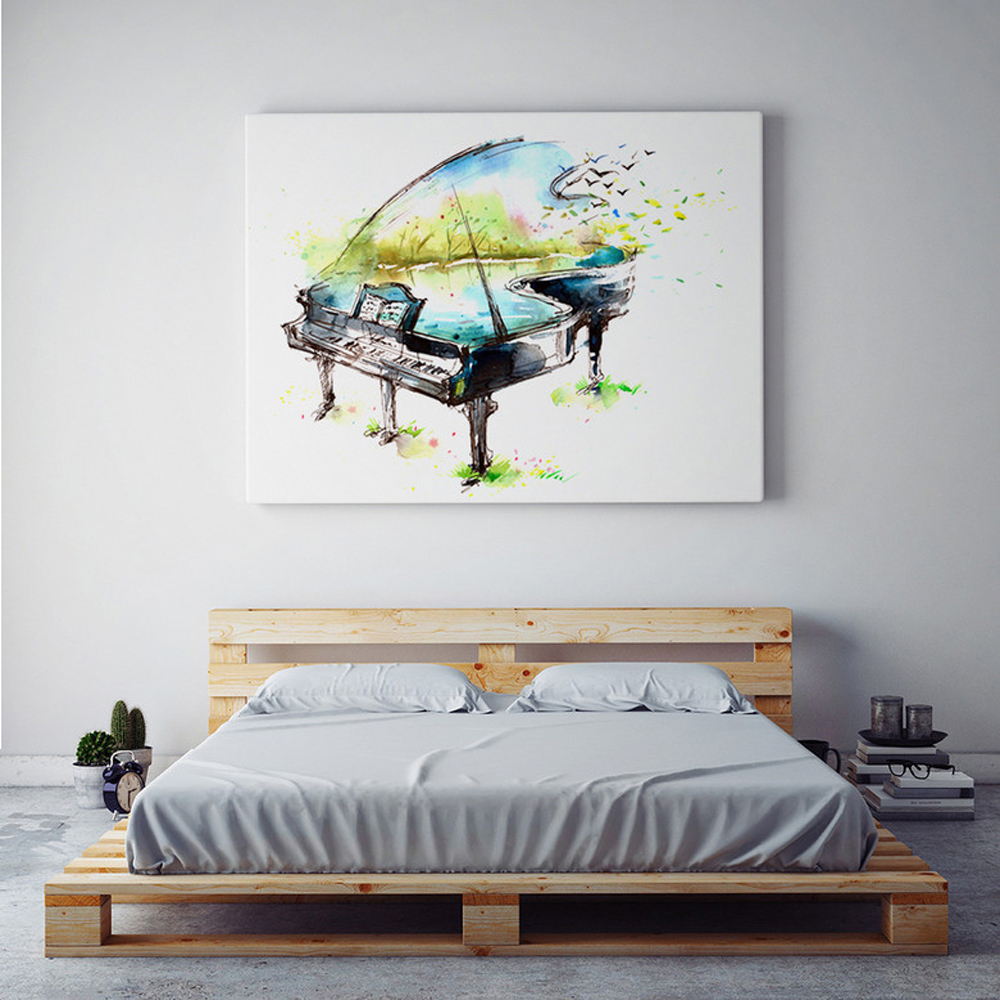 Акварелна живопис на платно пиано китара цигулка на маслени бои съвременна музикален инструмент стена изкуство живопис хол хол печат