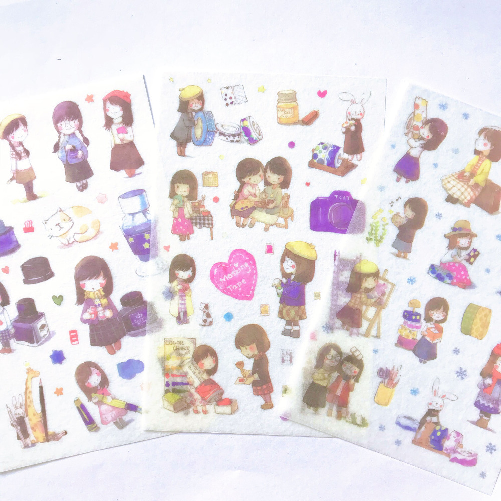 6 Sheets /Pack Kawaii School Girl Adhensive Stickers Notebook Album DIY Decoration Stickers Stick Label Kids Stationery