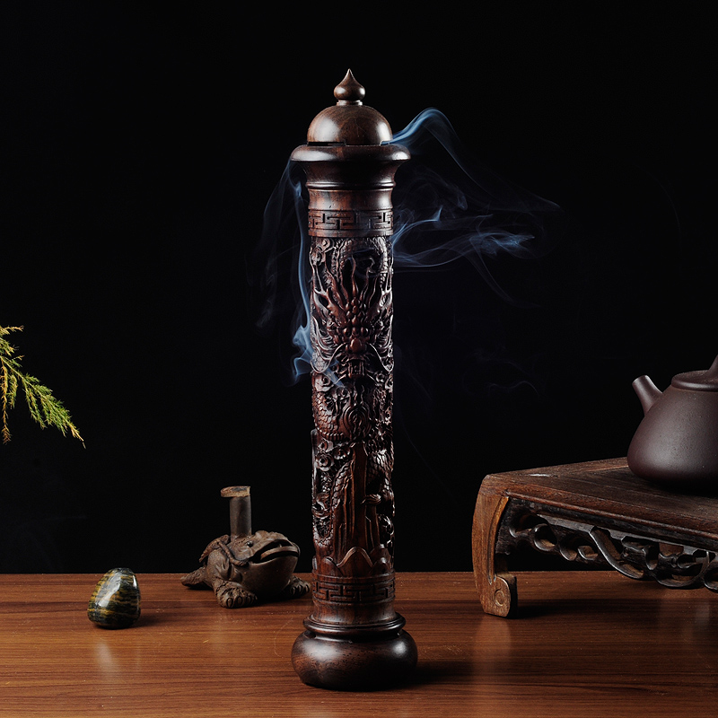 PINNY Ebony Wood Dragon Sculpture Stick Incense Burner Wood Pomades Joss Sticks Incense Holder Handmade Censer Aromatherapy