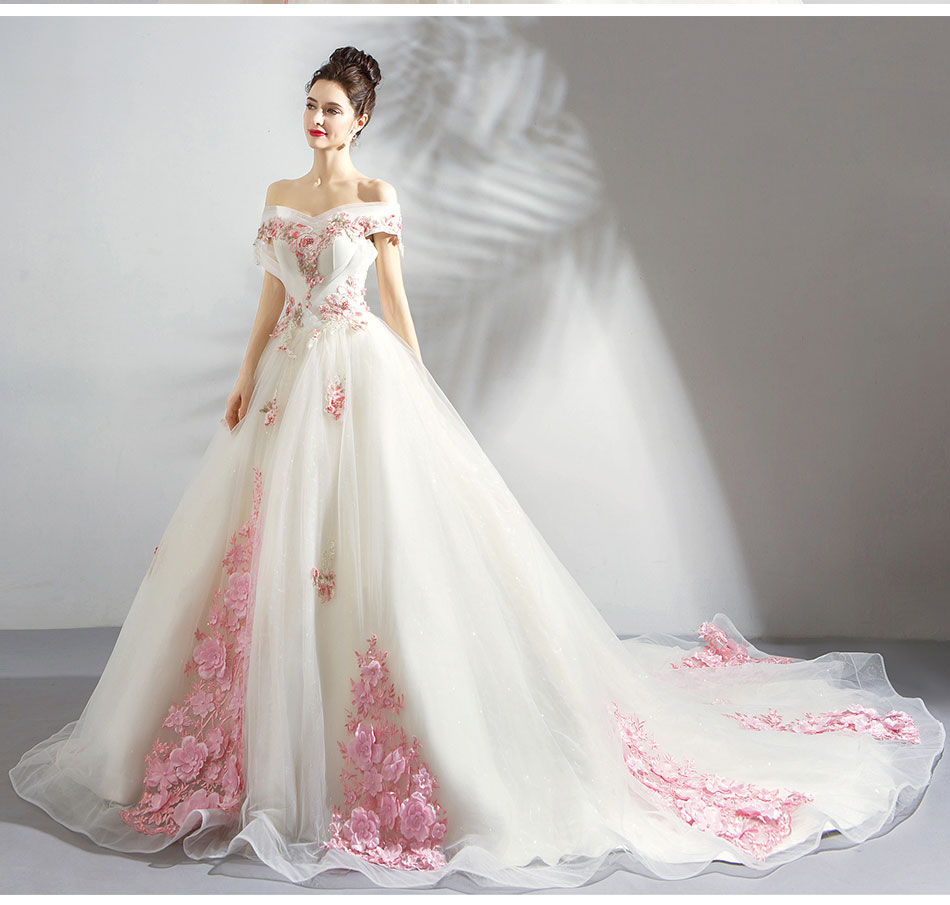 Pink And White Wedding Gowns: Boat Neck Weddding Dresses With Train Bridal Gown Elegant