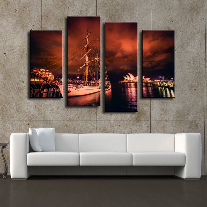 4 Pieces Of Wall Art Sydney Opera Home Decor Wall Pictures