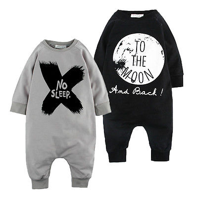 Toddler Baby Girls Boys Long Sleeve Romper Jumpsuit Lettle No Sleep to the Moon puseky 2017 infant romper baby boys girls jumpsuit newborn bebe clothing hooded toddler baby clothes cute panda romper costumes