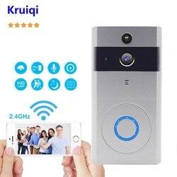 Kruiqi Video Doorbell Camera Wireless 720P Intercom Doorbell with IR Night Vision Move Detection Two-Way Audio Camera Doorbell