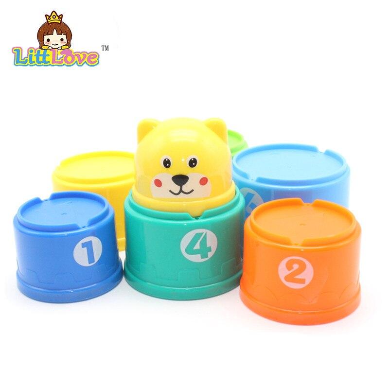 LittLove 9Pcs / Set Toy Bayi Lucu Pendidikan Pembelajaran Kecil Jenga - Mainan pembinaan - Foto 3