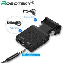อะแดปเตอร์VGAไปยังHDMI ConverterหญิงชายAudio Power Adapterสนับสนุน1080P VGA To HDMI Audio 5V DC Connector