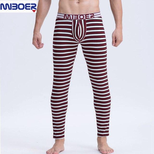 Men Leggings Winter 2016 Slim Warm Striped Mid Waist Sexy Men Long Underwear Cotton Man Long John Underpants