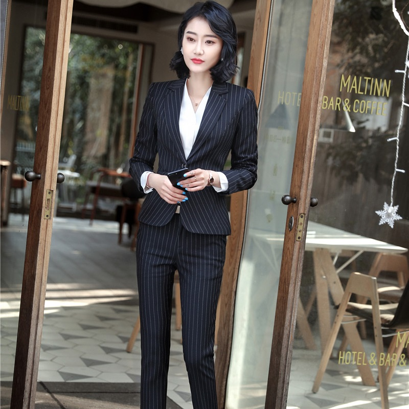 Ensembles Black dark Uniforme Dames Pantsuits grey Femme Et Pour Pantalon Professionnel Striped Avec Pantalons Styles Vestes Tops Striped Costumes Rayé Blazers Femmes Striped Blue rTZqHfxwr