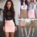 Women Lady Sexy Bandge Leather High Waist Pencil Bodycon Hip Short Mini Skirt