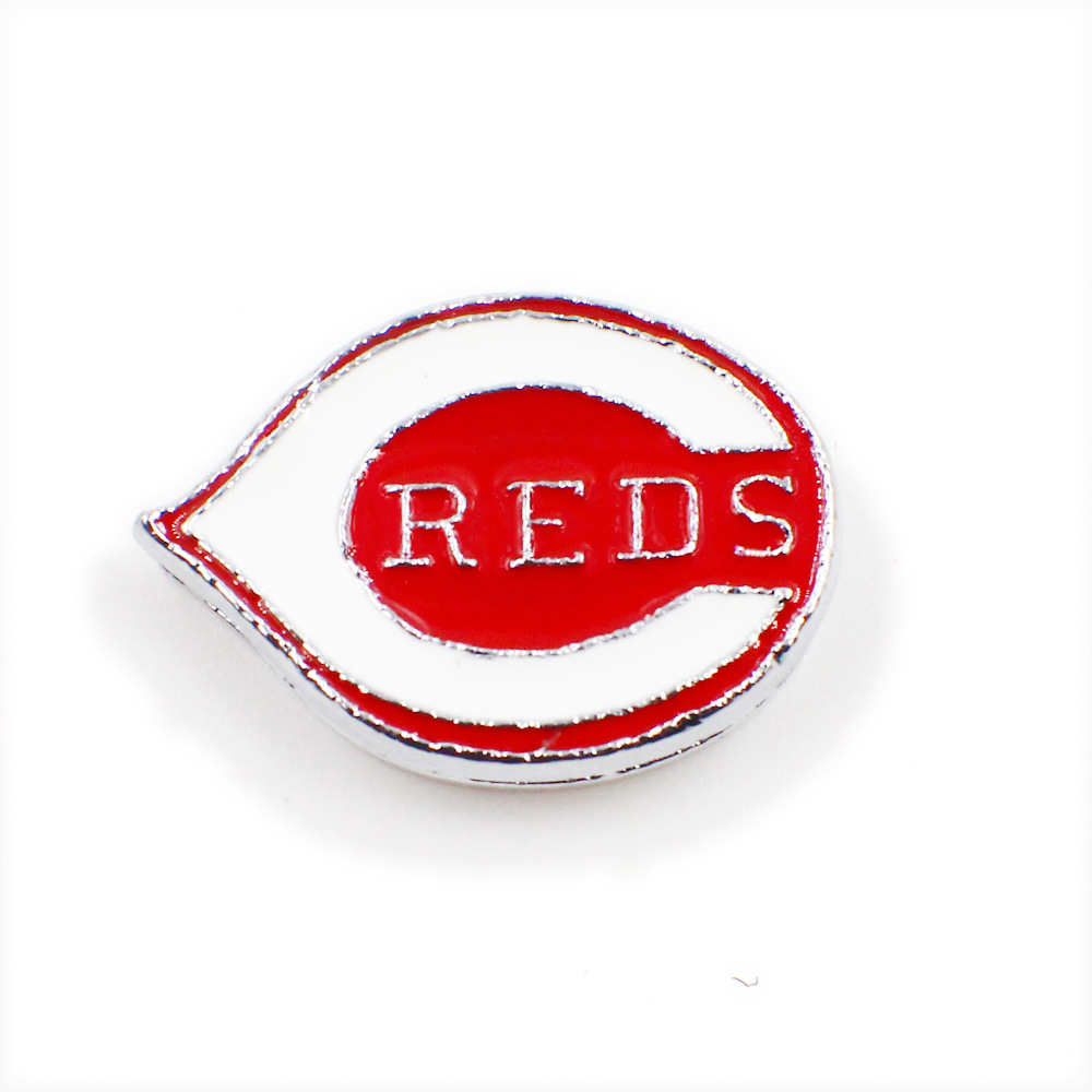 20PCS Baseball Cincinnati Reds Alloy Enamel Charms 8MM Slide Charm Fit DIY For Sport Fans Leather Bracelet Necklace Jewelry