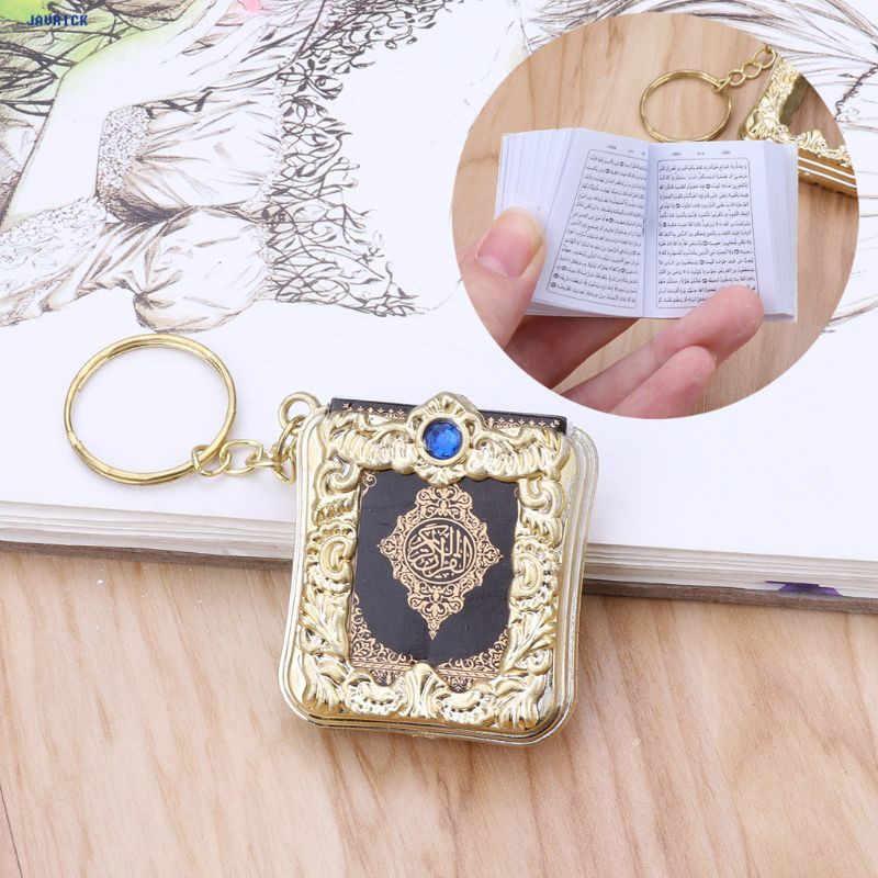 Javrick mini ark alcorão livro real papel pode ler árabe o alcorão chaveiro muçulmano jóias presentes de natal