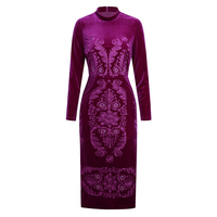 Vintage Flower Embroidery Women Dress Fashion Long Sleeve Velvet Dresses K1265