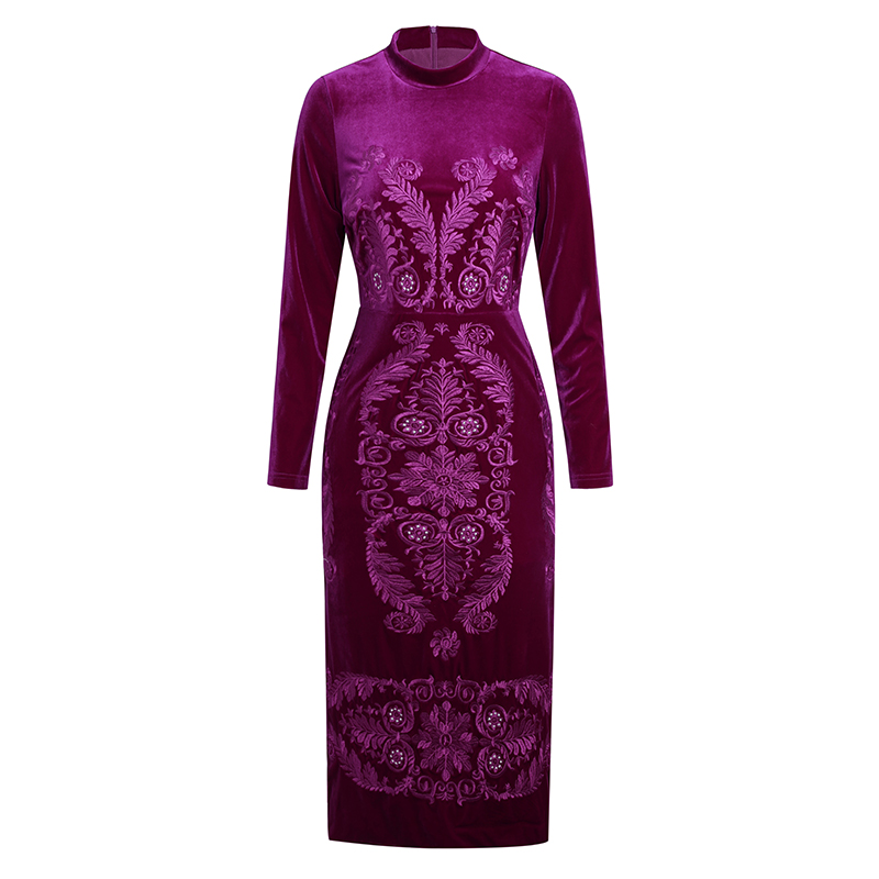Vintage fleur broderie femmes robe mode manches longues velours robes K1265