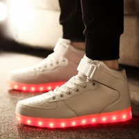 2017 New Colorful Led Light Shoes USB Rechargeable Girl S Boys Sneakers Cool Luminous Lace Up