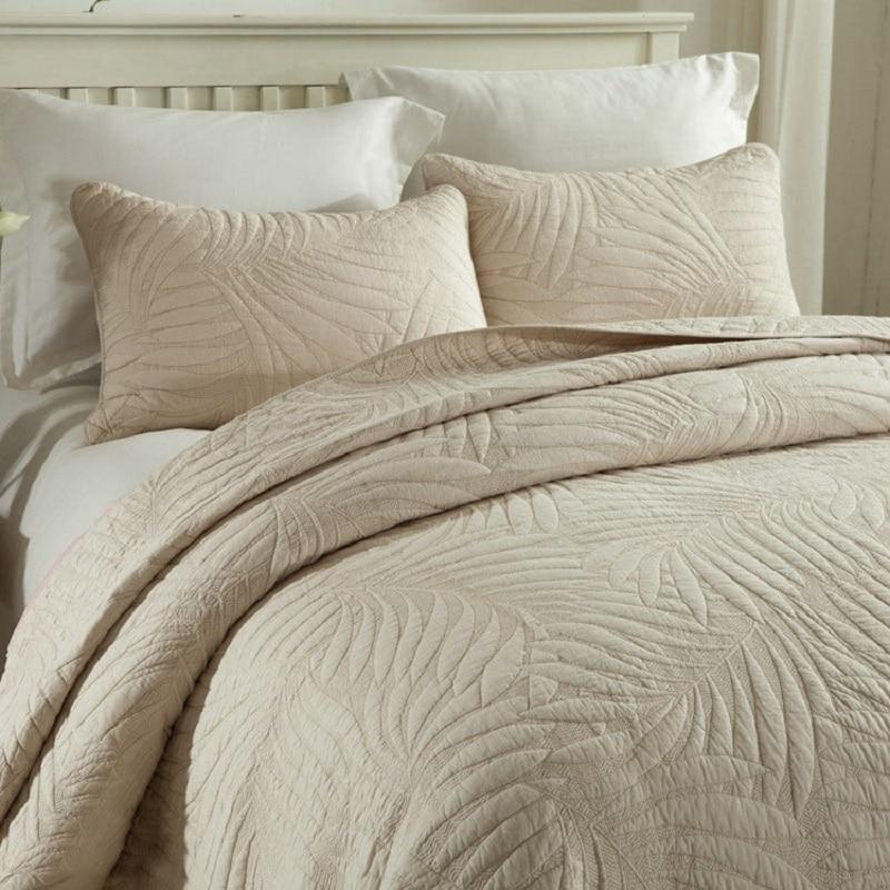 CHAUSUBขนาดใหญ่ชุดผ้านวม3ชิ้นธรรมดาผ้าฝ้ายผ้าห่มปักผ้าคลุมเตียงปลอกหมอนสีขาวสีเบจเตียงขนาดคิงไซส์ผ้าคลุมเตียง-ใน ผ้าคลุมเตียง จาก บ้านและสวน บน   2
