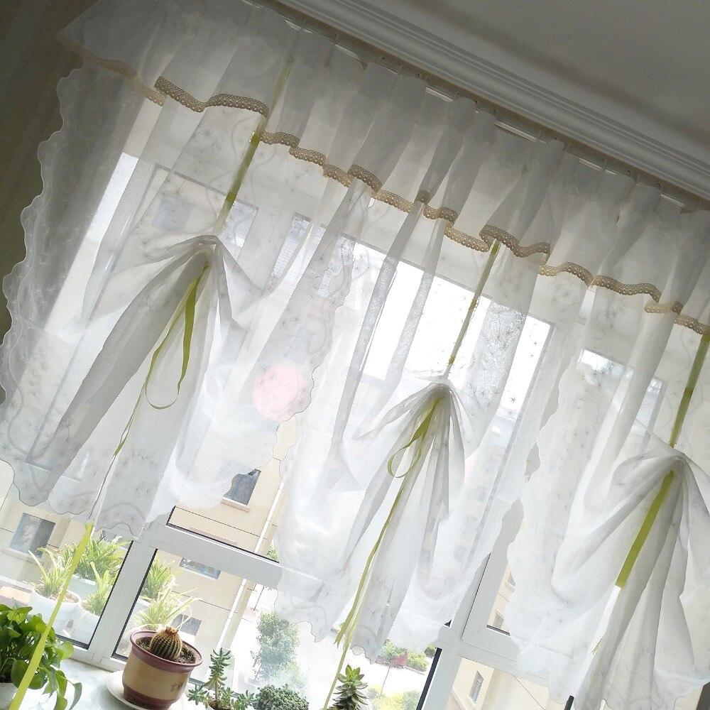 haut a double rideau brode en lin translucide blanc avec dentelle beige longueur 82cm ou 125cm 1 panneau multi hauteur