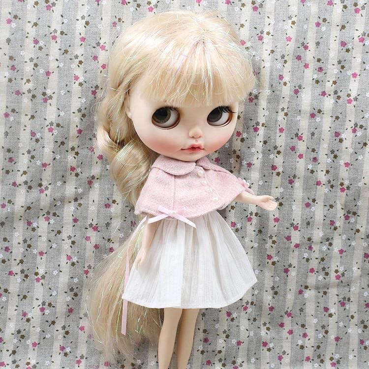 Neo Blythe Doll Pink White Cloak Dress 5