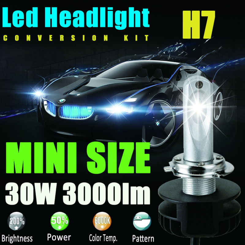 Small Size <font><b>H7</b></font> <font><b>Led</b></font> <font><b>Headlight</b></font> Bulbs Super Bright & 6000K Cool White Headlamp Auto Front Bulb to Replace Original Bulb Single Beam image