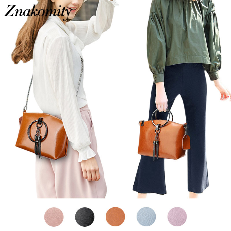 Znakomity Women hand bag ladies cow genuine leather crossbody messenger bag women's Handbag black brown Chain shoulder bag women znakomity new shoulder bag real women s genuine leather handbag wine red fashion brown black tote bag top handle hand bags women