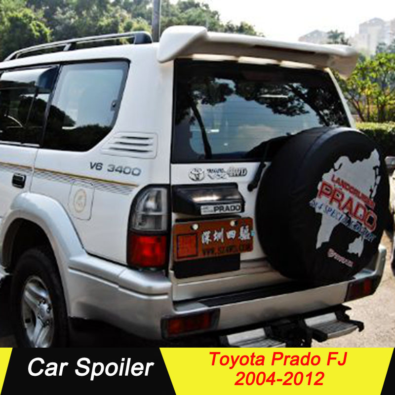 For Toyota Prado FJ ABS Plastic Rear Trunk Wing Roof Spoiler With Led Light For Toyota