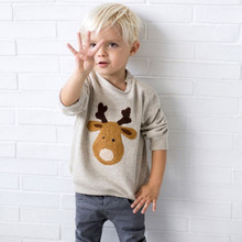 Lovely Deer Printed Cotton Baby Boy's Sweatshirt