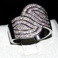 Choucong Jewelry Luxury Leaf Pave 100PCS 5a Zircon 925 Sterling Silver Cz Cocktail Wedding Band Rings