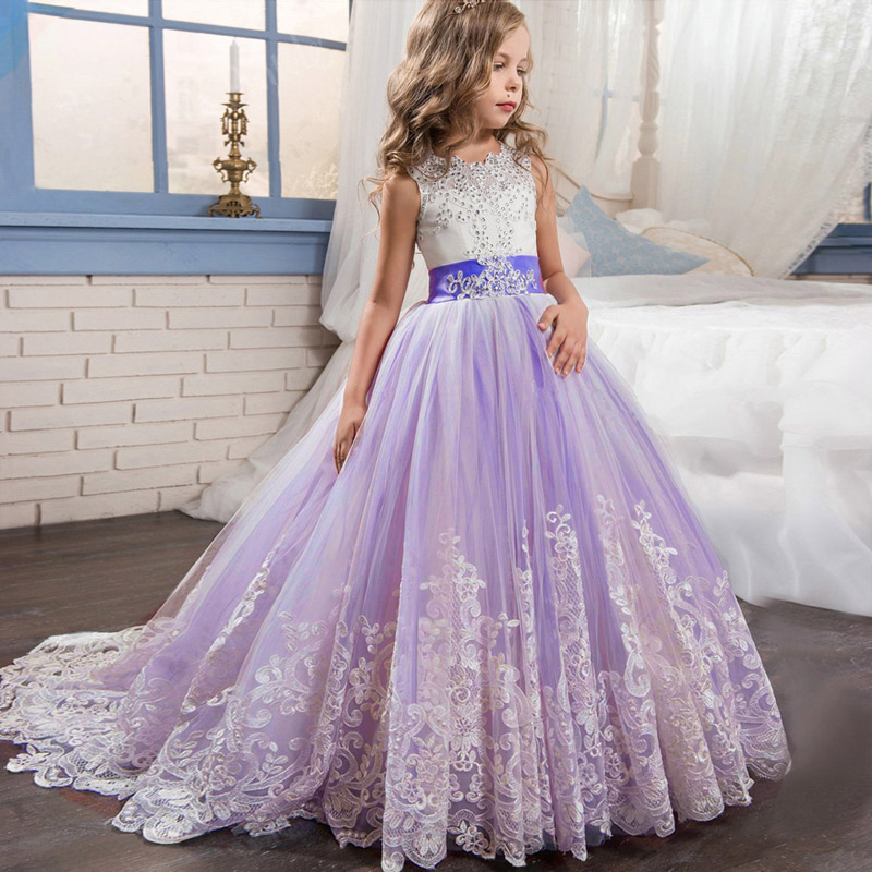 High Quality Evening Flower No Tailing Girl Dress Baby Evening Wedding Birthday Girls Dress First Communion Princess Costume
