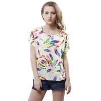 Singwing Print Feathers Chiffon Women T-shirts Sum ...