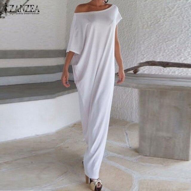 Vestidos 2016 Summer Women Boho Long Maxi Dress Casual Loose Sexy Elegant Slash Neck Off Shoulder Solid Party Dresses Plus Size