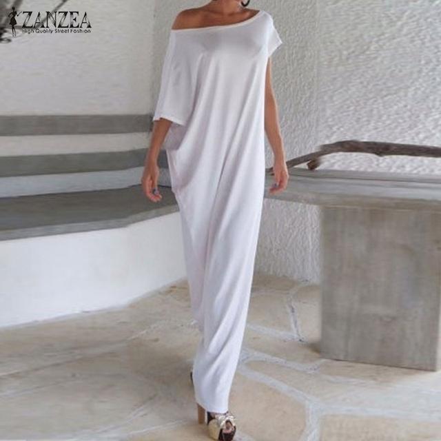 Vestidos Verão 2016 Mulheres Boho Longo Maxi Vestido Ocasional Solto Sexy Elegante Barra Pescoço Fora Do Ombro Vestidos de Festa Sólidos Plus Size tamanho