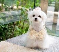 Gratis verzending schattig prachtige kant parel halsband huisdier accessoire voor bijpassende jurk kleding