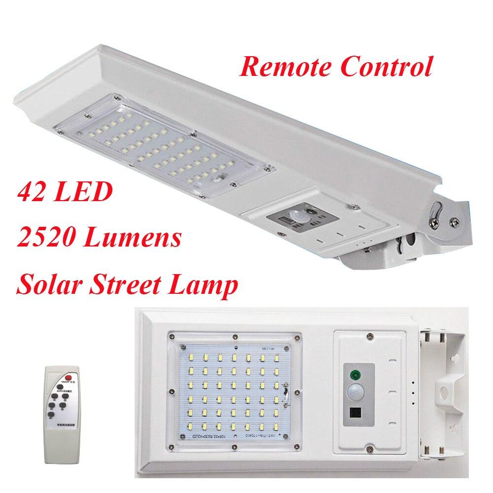 42 LED 2520 Lumens Télécommande Solaire LED Lampe Infrarouge PIR Motion Sense Étanche LED Rue Mur Lumière Extérieure Jardin lumière
