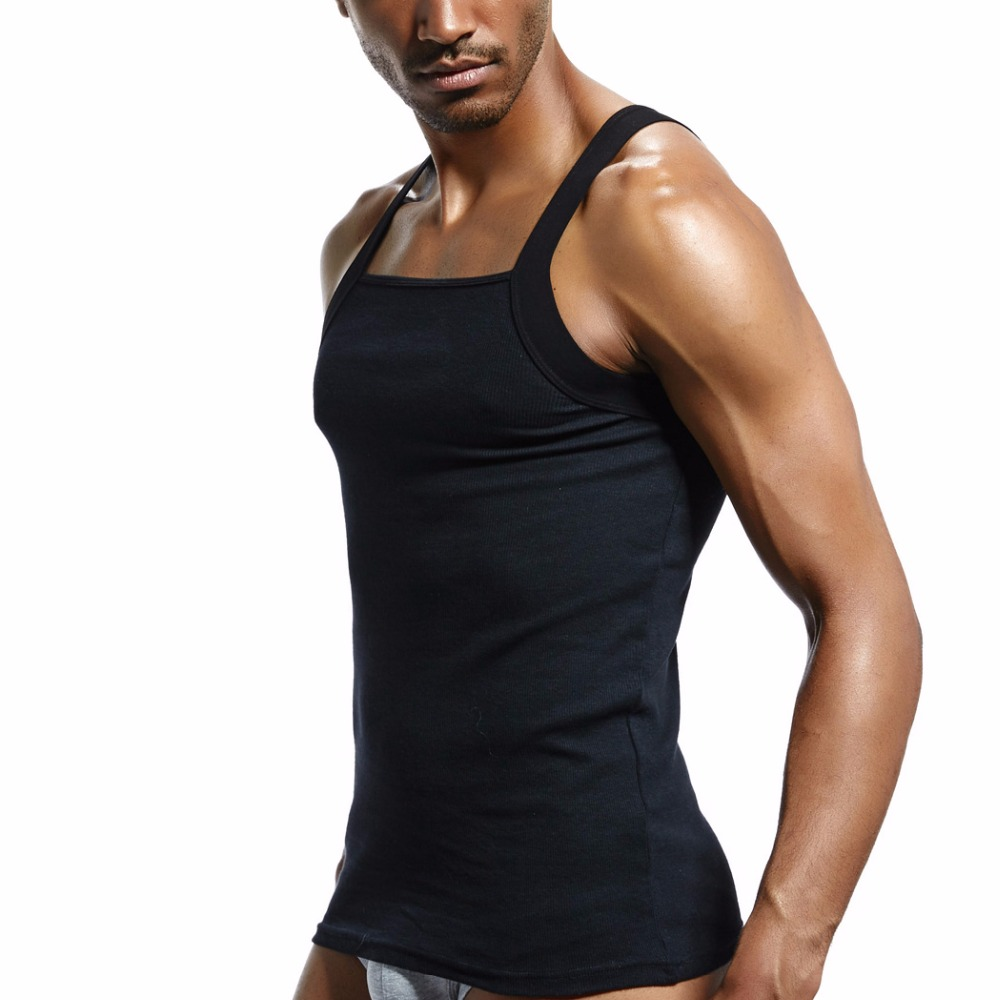 mens fashion vest cotton Tight tank top home sleep Casual Solid t-shirts gay Sexy Asian size Casual sleeveless garment