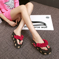 2016 new cartoon summer high-heeled sandals - Lamb female thick bottom slope with sand pinch slippers tide